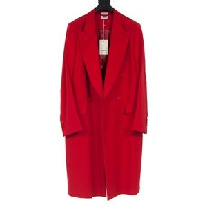 Red Double Breasted Peak Lapel Coat